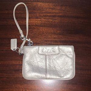 Coach silver wristlet